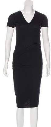 Monrow V-Neck Short Sleeve Midi Dress