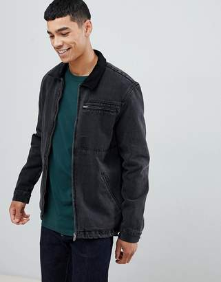 New Look worker jacket with cord collar in black