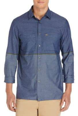 Lacoste Stripe Cotton Casual Button-Down Shirt