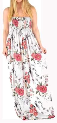 4f504049812 REAL LIFE FASHION LTD Sheering Gather Floral Print Long Dress Ladies  Bandeau Boobtube Maxi Dress