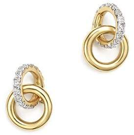 Adina 14K Yellow Gold Pavé Diamond Interlocking Loop Stud Earrings