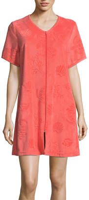 Adonna Short Sleeve Terry Zip Robe