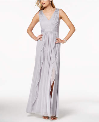 Adrianna Papell Embellished Draped Gown