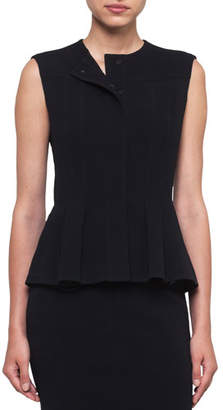 Akris Round-Neck Snap-Front Wool-Stretch Peplum Gilet