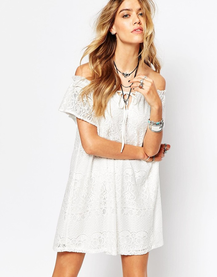 Missguided Lace Off The Shoulder Swing Dress - White