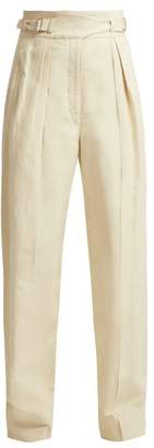 Lemaire Cotton And Linen Blend Cargo Trousers - Womens - Cream