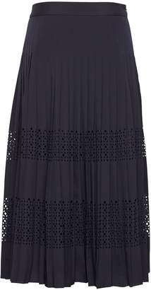 Banana Republic Petite Laser-Cut Pleated Midi Skirt