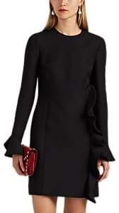 Valentino Women's Ruffled Wool-Silk Shift Dress - Black