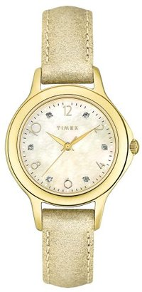 Timex Women's T2M577 Diamond Accented Cream Leather Strap Watch $82.77 thestylecure.com
