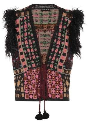 Etro Faux-fur trimmed crochet waistcoat