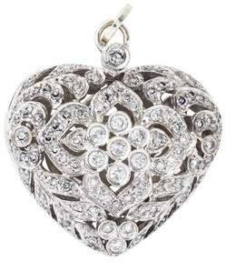 18K Diamond Filigree Heart Pendant