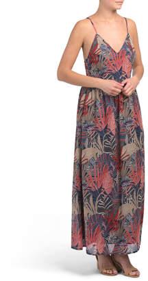 Juniors Coral Leaf Print Maxi Dress