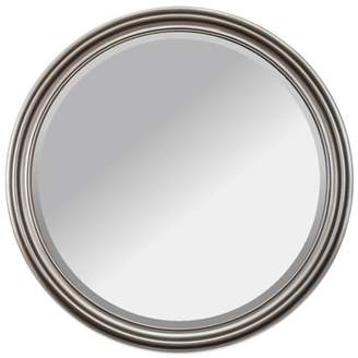 """Alpine Art and Mirror Adele Champagne Silver, 36"""" Round, Beveled Glass Wall Mirror"""