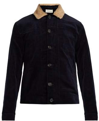 Oliver Spencer - Buffalo Corduroy Shearling Trimmed Jacket - Mens - Navy