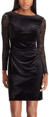 Chaps Women's Lace-Sleeve Velvet Shift Dress