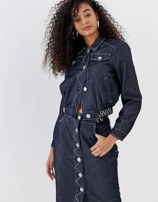 Emporio Armani cropped denim jacket with logo waist band