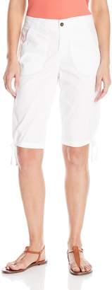 Caribbean Joe Women's Stretch Twill Scoop Pocket Tie Skimmer Bermuda Short