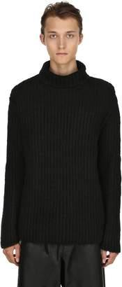 Isabel Benenato High Collar Chunky Wool Rib Knit Sweater