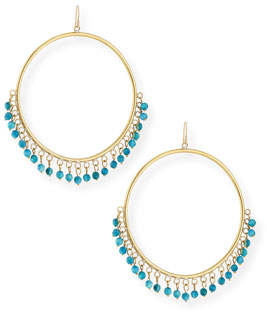 Ashley Pittman Mnara Bronze Hoop Earrings w/ Turquoise Dangles