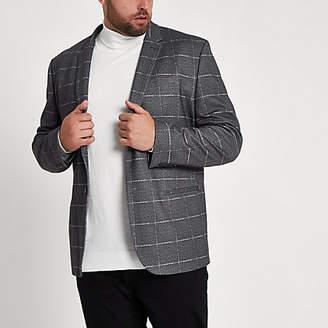 River Island Big and Tall grey check skinny fit blazer