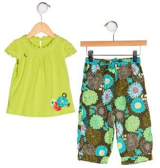 Catimini Girls' Appliqué-Accented Pants Set