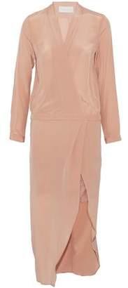 Mason Wrap-Effect Asymmetric Lace-Trimmed Silk-Satin Midi Dress