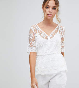 Forever New Petite Lace Blouse Top With Cami Underlay