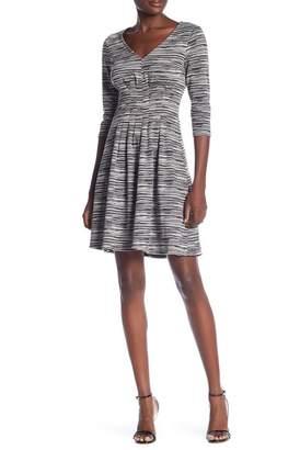 London Times Striped V-Neck Midi Dress