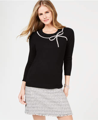 Charter Club Rhinestone-Embellished Cashmere Sweater, Created for Macy's