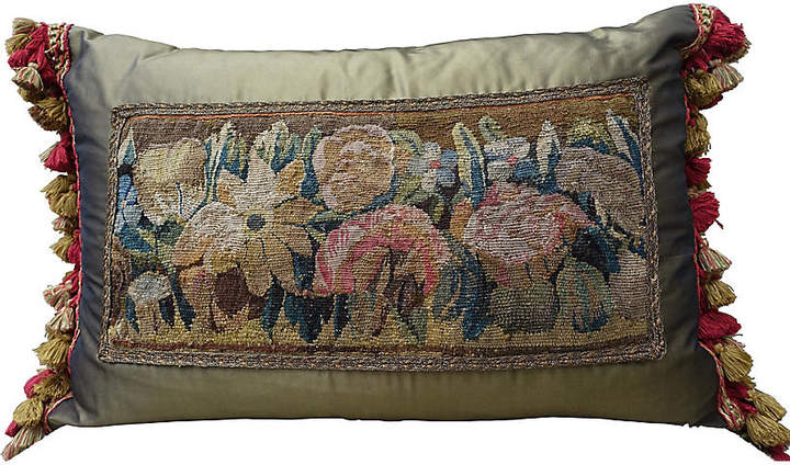 18th C. Tapestry & Silk Pillow with Fringe