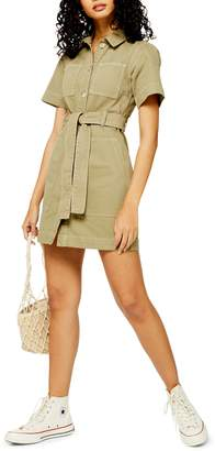 Topshop Short Sleeve Utility Dress