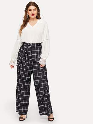 f8a1fa27118 Shein Plus Windowpane Check Belted Wide Leg Pants