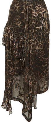 Preen by Thornton Bregazzi Julia Ruffled Leopard-print Fil Coupé Silk-blend Chiffon Skirt - Leopard print