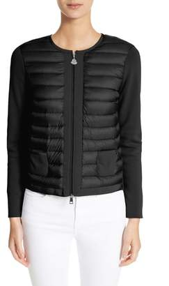 Moncler Maglia Quilted Down Front Tricot Cardigan