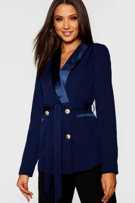 boohoo Tall Double Breasted Military Button Blazer