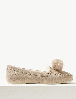 Marks and Spencer Pom-Pom Moccasin Slippers