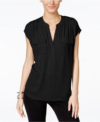 INC International Concepts Mixed-Media Utility Shirt, Only at Macy's $59.50 thestylecure.com