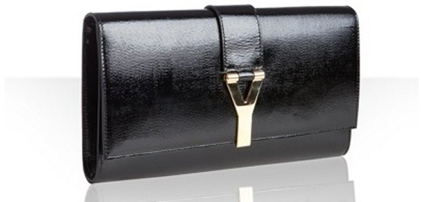 Yves Saint Laurent black patent textured leather 'Chyc' clutch