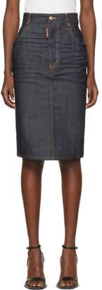 DSQUARED2 Indigo Denim Long Dalma Skirt