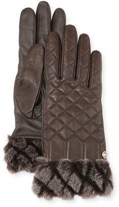 UGG Croft Quilted Leather Smart Gloves, Brown $97 thestylecure.com