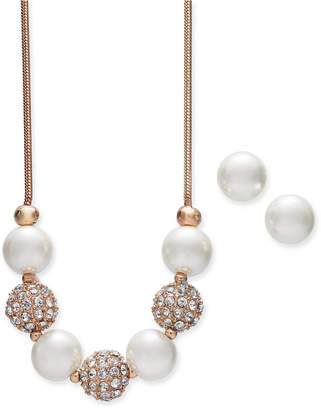 "Charter Club Rose Gold-Tone Pave Bead and Imitation Pearl Collar Necklace & Stud Earrings Set, 17"" + 2"" extender"