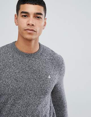 Jack Wills Rye classic crew neck wool blend sweater in gray marl
