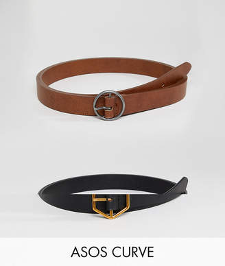 Asos DESIGN Curve 2 pack hexagon and circle buckle waist and hip belts