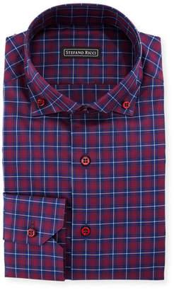 Stefano Ricci Barrel-Cuff Plaid Dress Shirt