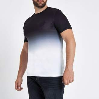 River Island Big and Tall black fade muscle fit T-shirt