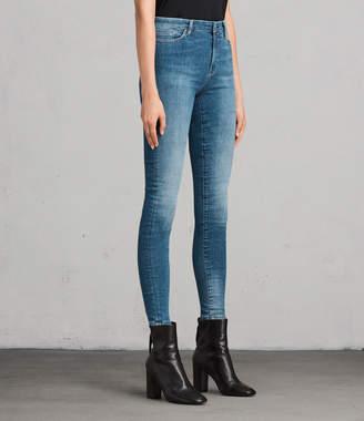 AllSaints Grace Skinny Mid-Rise Jeans, Fresh Blue