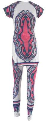 Sunrain CNMODLE Fashion African Totem Printed Stretchy Casual Women Sets Long Comfortable T Shirt+ Ladies Pants Trousers