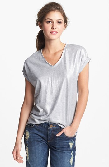 Vince Camuto Two by V-Neck Metallic Foiled Tee