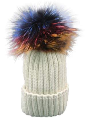 304e45b1c59 AMA(TM) Women Winter Fur Wool Knit Crochet Beanie Hat Raccoon Warm Cap