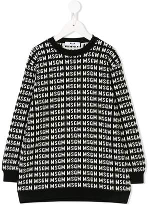 MSGM Kids logo intarsia-knit sweater